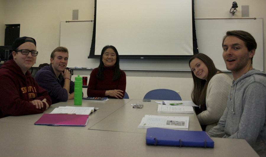 Wei Laoshi and the Chinese 202 class at Boise State University